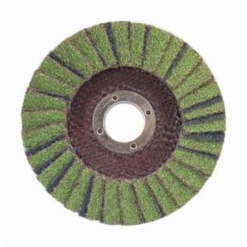 Norton® Neon® 66623399032 R766 Center Mount Standard Density Coated Abrasive Flap Disc, 4-1/2 in Dia, 7/8 in Center Hole, P36 Grit, Extra Coarse Grade, Aluminum Oxide/Zirconia Alumina Abrasive, Type 29/Conical Disc