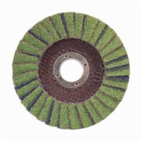 Norton® Neon® 66623399033 R766 Center Mount Standard Density Coated Abrasive Flap Disc, 4-1/2 in Dia, 7/8 in Center Hole, P40 Grit, Extra Coarse Grade, Aluminum Oxide/Zirconia Alumina Abrasive, Type 29/Conical Disc