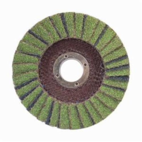 Norton® Neon® 66623399034 R766 Center Mount Standard Density Coated Abrasive Flap Disc, 4-1/2 in Dia, 7/8 in Center Hole, P60 Grit, Coarse Grade, Aluminum Oxide/Zirconia Alumina Abrasive, Type 29/Conical Disc