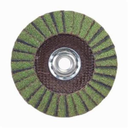 Norton® Neon® 66623399045 R766 Arbor Thread Standard Density Coated Abrasive Flap Disc, 7 in Dia, P80 Grit, Coarse Grade, Aluminum Oxide/Zirconia Alumina Abrasive, Type 29/Conical Disc