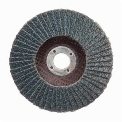 Norton® BlueFire® 66623399049 R884P Center Mount Standard Density Coated Abrasive Flap Disc, 4 in Dia, 5/8 in Center Hole, P36 Grit, Extra Coarse Grade, Zirconia Alumina Plus Abrasive, Type 29/Conical Disc