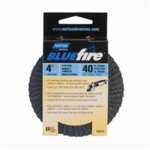 Norton® BlueFire® 66623399050 R884P Center Mount Standard Density Coated Abrasive Flap Disc, 4 in Dia, 5/8 in Center Hole, P40 Grit, Extra Coarse Grade, Zirconia Alumina Plus Abrasive, Type 29/Conical Disc