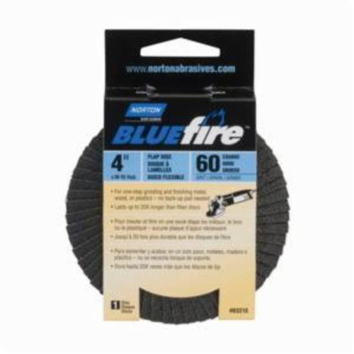 Norton® BlueFire® 66623399051 R884P Center Mount Standard Density Coated Abrasive Flap Disc, 4 in Dia, 5/8 in Center Hole, P60 Grit, Coarse Grade, Zirconia Alumina Plus Abrasive, Type 29/Conical Disc