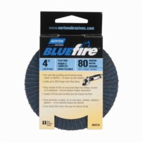 Norton® BlueFire® 66623399052 R884P Center Mount Standard Density Coated Abrasive Flap Disc, 4 in Dia, 5/8 in Center Hole, P80 Grit, Coarse Grade, Zirconia Alumina Plus Abrasive, Type 29/Conical Disc