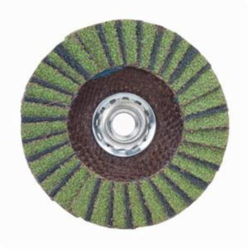 Norton® Neon® 66623399060 R766 Arbor Thread High Density Coated Abrasive Flap Disc, 4-1/2 in Dia, P60 Grit, Coarse Grade, Aluminum Oxide/Zirconia Alumina Abrasive, Type 27/Flat Disc