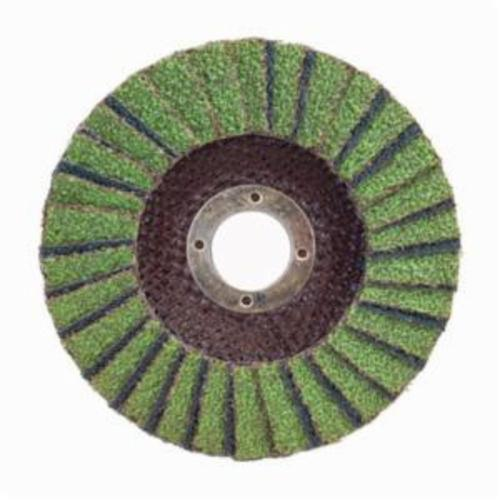 Norton® Neon® 66623399062 R766 Center Mount High Density Coated Abrasive Flap Disc, 4-1/2 in Dia, 7/8 in Center Hole, P36 Grit, Extra Coarse Grade, Aluminum Oxide/Zirconia Alumina Abrasive, Type 27/Flat Disc