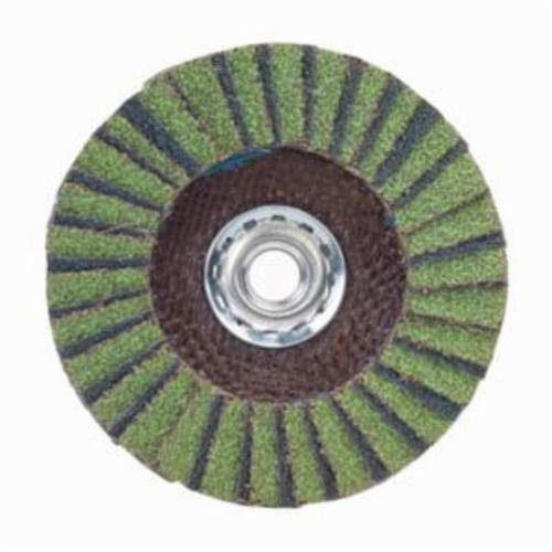 Norton® Neon® 66623399067 R766 Arbor Thread High Density Coated Abrasive Flap Disc, 7 in Dia, P40 Grit, Extra Coarse Grade, Aluminum Oxide/Zirconia Alumina Abrasive, Type 27/Flat Disc