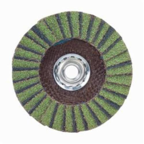 Norton® Neon® 66623399068 R766 Arbor Thread High Density Coated Abrasive Flap Disc, 7 in Dia, P60 Grit, Coarse Grade, Aluminum Oxide/Zirconia Alumina Abrasive, Type 27/Flat Disc