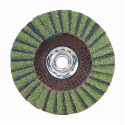 Norton® Neon® 66623399069 R766 Arbor Thread High Density Coated Abrasive Flap Disc, 7 in Dia, P80 Grit, Coarse Grade, Aluminum Oxide/Zirconia Alumina Abrasive, Type 27/Flat Disc