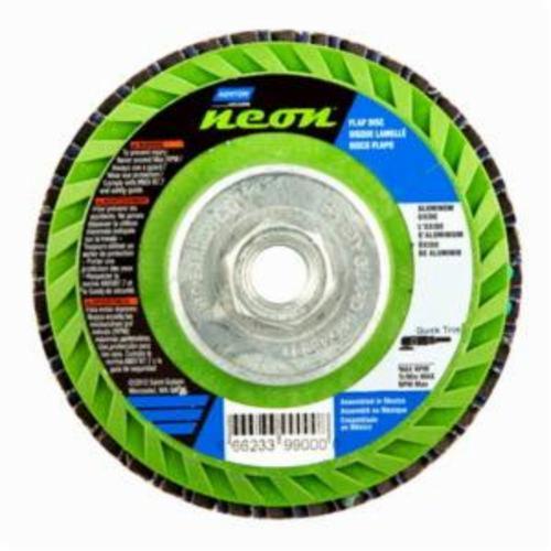 Norton® Neon® 66623399125 R766 Arbor Thread Quick-Trim Standard Density Coated Abrasive Flap Disc, 4-1/2 in Dia, P36 Grit, Extra Coarse Grade, Aluminum Oxide/Zirconia Alumina Abrasive, Type 27/Flat Disc