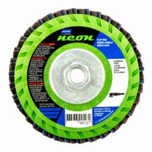 Norton® Neon® 66623399127 R766 Arbor Thread Quick-Trim Standard Density Coated Abrasive Flap Disc, 5 in Dia, P36 Grit, Extra Coarse Grade, Aluminum Oxide/Zirconia Alumina Abrasive, Type 27/Flat Disc