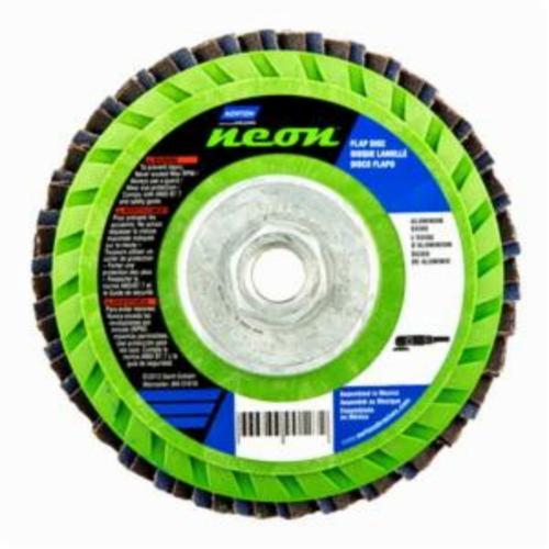 Norton® Neon® 66623399132 R766 Arbor Thread Quick-Trim Standard Density Coated Abrasive Flap Disc, 5 in Dia, P120 Grit, Medium Grade, Aluminum Oxide/Zirconia Alumina Abrasive, Type 27/Flat Disc