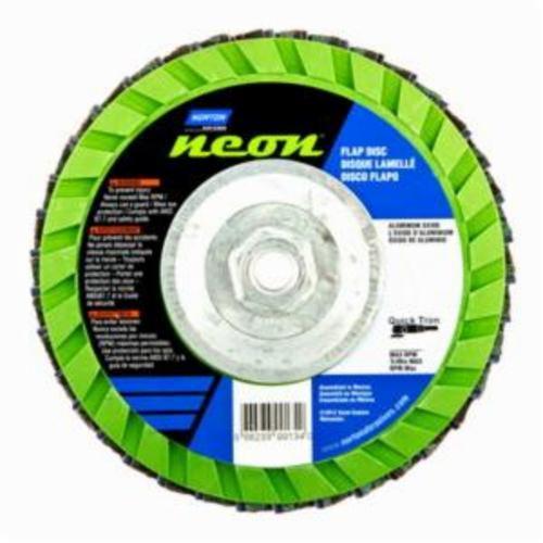 Norton® Neon® 66623399134 R766 Arbor Thread Quick-Trim Standard Density Coated Abrasive Flap Disc, 7 in Dia, P36 Grit, Extra Coarse Grade, Aluminum Oxide/Zirconia Alumina Abrasive, Type 27/Flat Disc