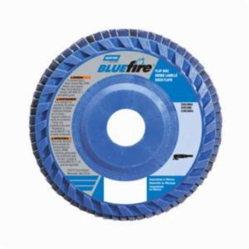 Norton® BlueFire® 66623399140 R884P Center Mount Quick-Trim Standard Density Coated Abrasive Flap Disc, 4-1/2 in Dia, 7/8 in Center Hole, P36 Grit, Extra Coarse Grade, Zirconia Alumina Plus Abrasive, Type 27/Flat Disc