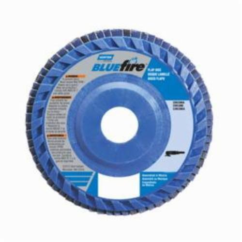 Norton® BlueFire® 66623399150 R884P Center Mount Quick-Trim Standard Density Coated Abrasive Flap Disc, 5 in Dia, 7/8 in Center Hole, P60 Grit, Coarse Grade, Zirconia Alumina Plus Abrasive, Type 27/Flat Disc