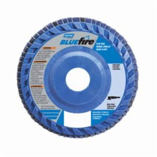 Norton® BlueFire® 66623399153 R884P Center Mount Quick-Trim Standard Density Coated Abrasive Flap Disc, 6 in Dia, 7/8 in Center Hole, P60 Grit, Coarse Grade, Zirconia Alumina Plus Abrasive, Type 27/Flat Disc