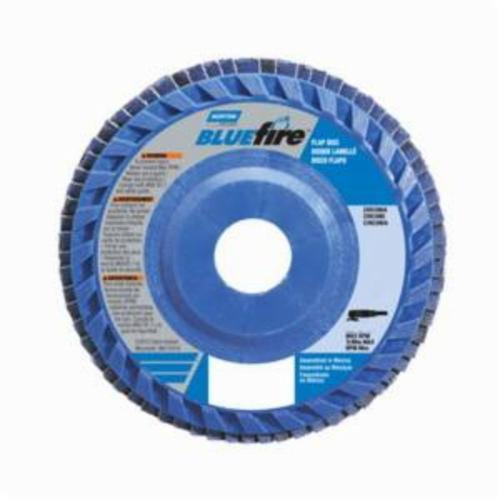 Norton® BlueFire® 66623399154 R884P Center Mount Quick-Trim Standard Density Coated Abrasive Flap Disc, 6 in Dia, 7/8 in Center Hole, P80 Grit, Coarse Grade, Zirconia Alumina Plus Abrasive, Type 27/Flat Disc