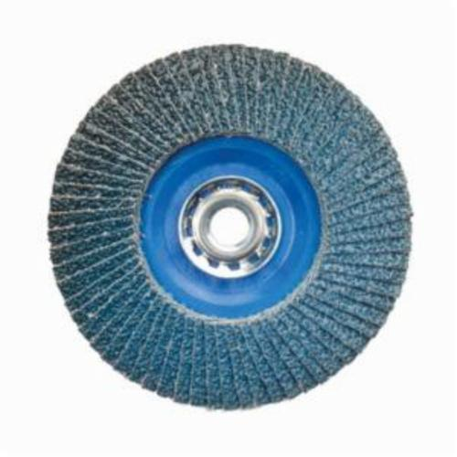Norton® BlueFire® 66623399155 R884P Arbor Thread Quick-Trim Standard Density Coated Abrasive Flap Disc, 7 in Dia, P36 Grit, Extra Coarse Grade, Zirconia Alumina Plus Abrasive, Type 27/Flat Disc