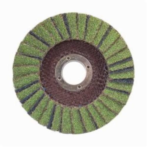 Norton® Neon® 66623399175 R766 Center Mount Standard Density Coated Abrasive Flap Disc, 4-1/2 in Dia, 7/8 in Center Hole, P120 Grit, Medium Grade, Aluminum Oxide/Zirconia Alumina Abrasive, Type 29/Conical Disc