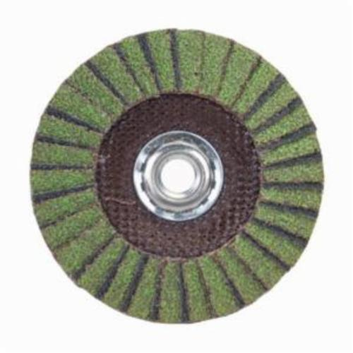 Norton® Neon® 66623399179 R766 Arbor Thread Standard Density Coated Abrasive Flap Disc, 5 in Dia, P80 Grit, Coarse Grade, Aluminum Oxide/Zirconia Alumina Abrasive, Type 29/Conical Disc