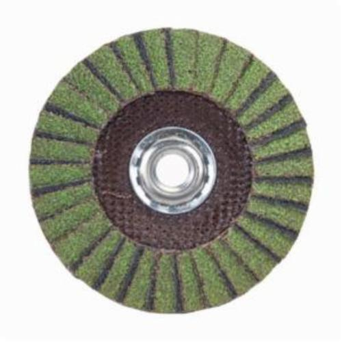 Norton® Neon® 66623399180 R766 Arbor Thread Standard Density Coated Abrasive Flap Disc, 5 in Dia, P120 Grit, Medium Grade, Aluminum Oxide/Zirconia Alumina Abrasive, Type 29/Conical Disc