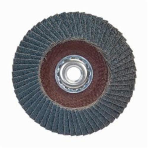 Norton® BlueFire® 66623399192 R884P Arbor Thread Standard Density Coated Abrasive Flap Disc, 5 in Dia, P80 Grit, Coarse Grade, Zirconia Alumina Plus Abrasive, Type 29/Conical Disc