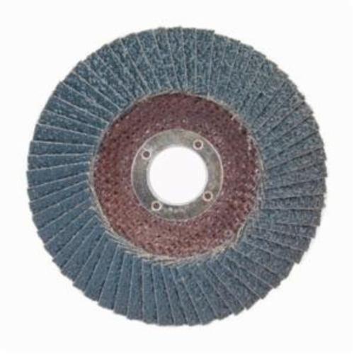Norton® BlueFire® 66623399193 R884P Center Mount Standard Density Coated Abrasive Flap Disc, 6 in Dia, 7/8 in Center Hole, P40 Grit, Extra Coarse Grade, Zirconia Alumina Plus Abrasive, Type 29/Conical Disc