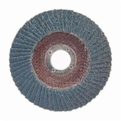 Norton® BlueFire® 66623399195 R884P Center Mount Standard Density Coated Abrasive Flap Disc, 6 in Dia, 7/8 in Center Hole, P80 Grit, Coarse Grade, Zirconia Alumina Plus Abrasive, Type 29/Conical Disc