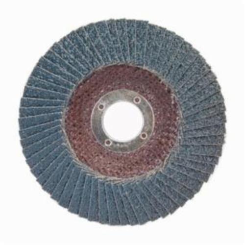 Norton® BlueFire® 66623399204 R884P Center Mount Standard Density Coated Abrasive Flap Disc, 4-1/2 in Dia, 7/8 in Center Hole, P24 Grit, Extra Coarse Grade, Zirconia Alumina Plus Abrasive, Type 29/Conical Disc