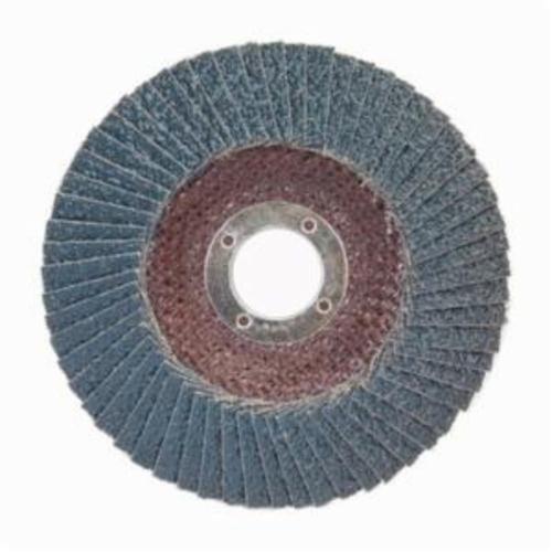 Norton® BlueFire® 66623399206 R884P Center Mount Standard Density Coated Abrasive Flap Disc, 5 in Dia, 7/8 in Center Hole, P24 Grit, Extra Coarse Grade, Zirconia Alumina Plus Abrasive, Type 29/Conical Disc
