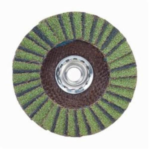 Norton® Neon® 66623399209 R766 Arbor Thread High Density Coated Abrasive Flap Disc, 5 in Dia, P60 Grit, Coarse Grade, Aluminum Oxide/Zirconia Alumina Abrasive, Type 27/Flat Disc