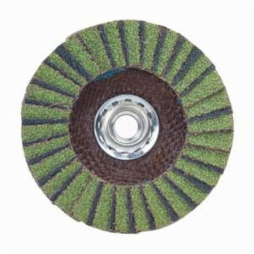 Norton® Neon® 66623399210 R766 Arbor Thread High Density Coated Abrasive Flap Disc, 5 in Dia, P80 Grit, Coarse Grade, Aluminum Oxide/Zirconia Alumina Abrasive, Type 27/Flat Disc