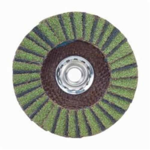 Norton® Neon® 66623399222 R766 Arbor Thread High Density Coated Abrasive Flap Disc, 7 in Dia, P36 Grit, Extra Coarse Grade, Aluminum Oxide/Zirconia Alumina Abrasive, Type 27/Flat Disc