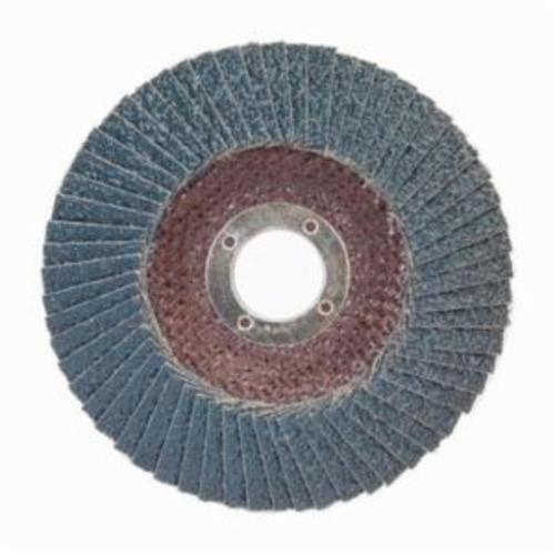 Norton® BlueFire® 66623399298 R884P Center Mount Standard Density Coated Abrasive Flap Disc, 6 in Dia, 7/8 in Center Hole, P36 Grit, Extra Coarse Grade, Zirconia Alumina Plus Abrasive, Type 29/Conical Disc
