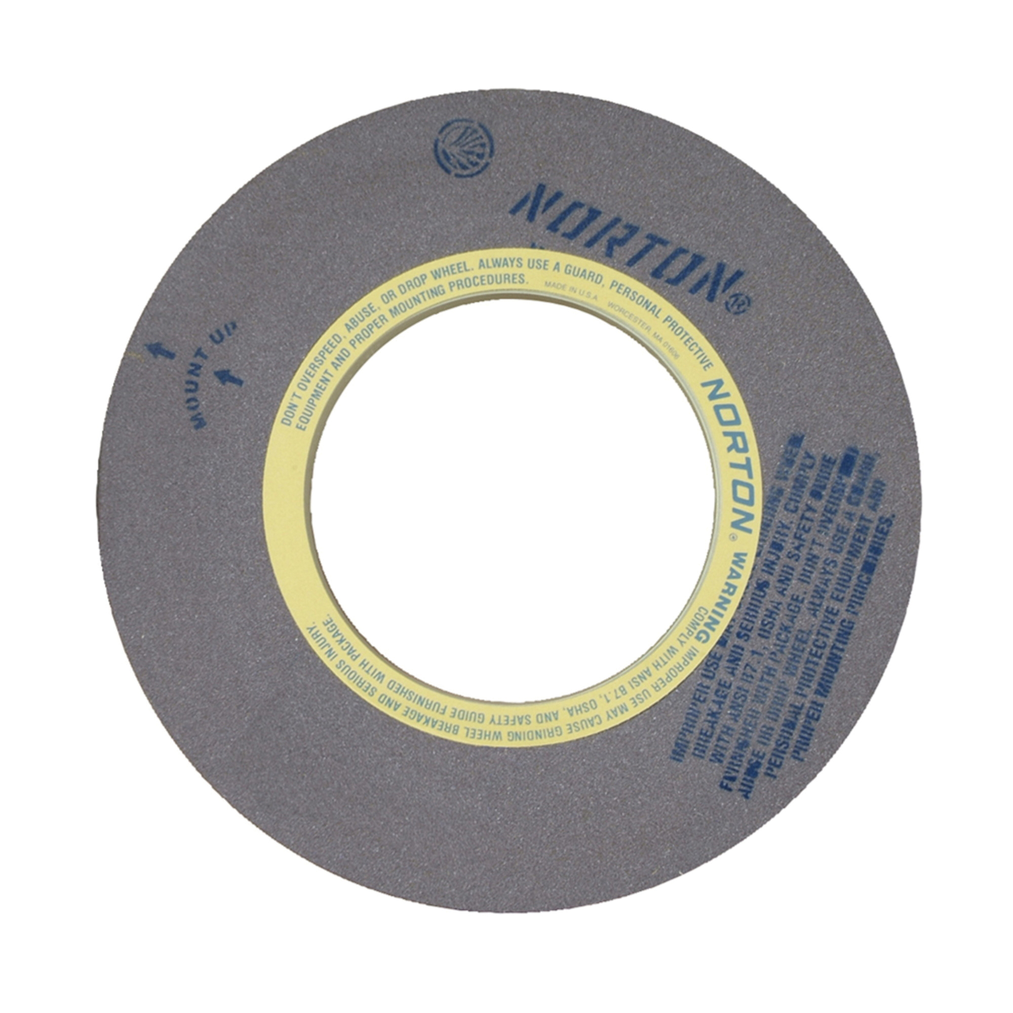 Norton® 69078666749 64A Centerless Grinding Wheel, 20 in Dia x 8 in THK, 12 in Center Hole, 60 Grit, Aluminum Oxide Abrasive