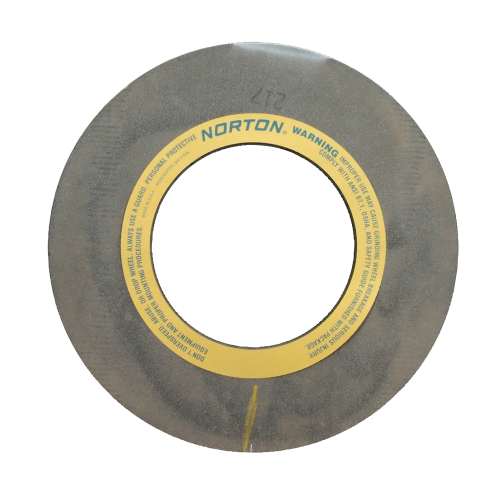 Norton® 69083166552 32A Straight Centerless Grinding Wheel, 24 in Dia x 20 in THK, 305 mm Center Hole, 54 Grit, Aluminum Oxide Abrasive