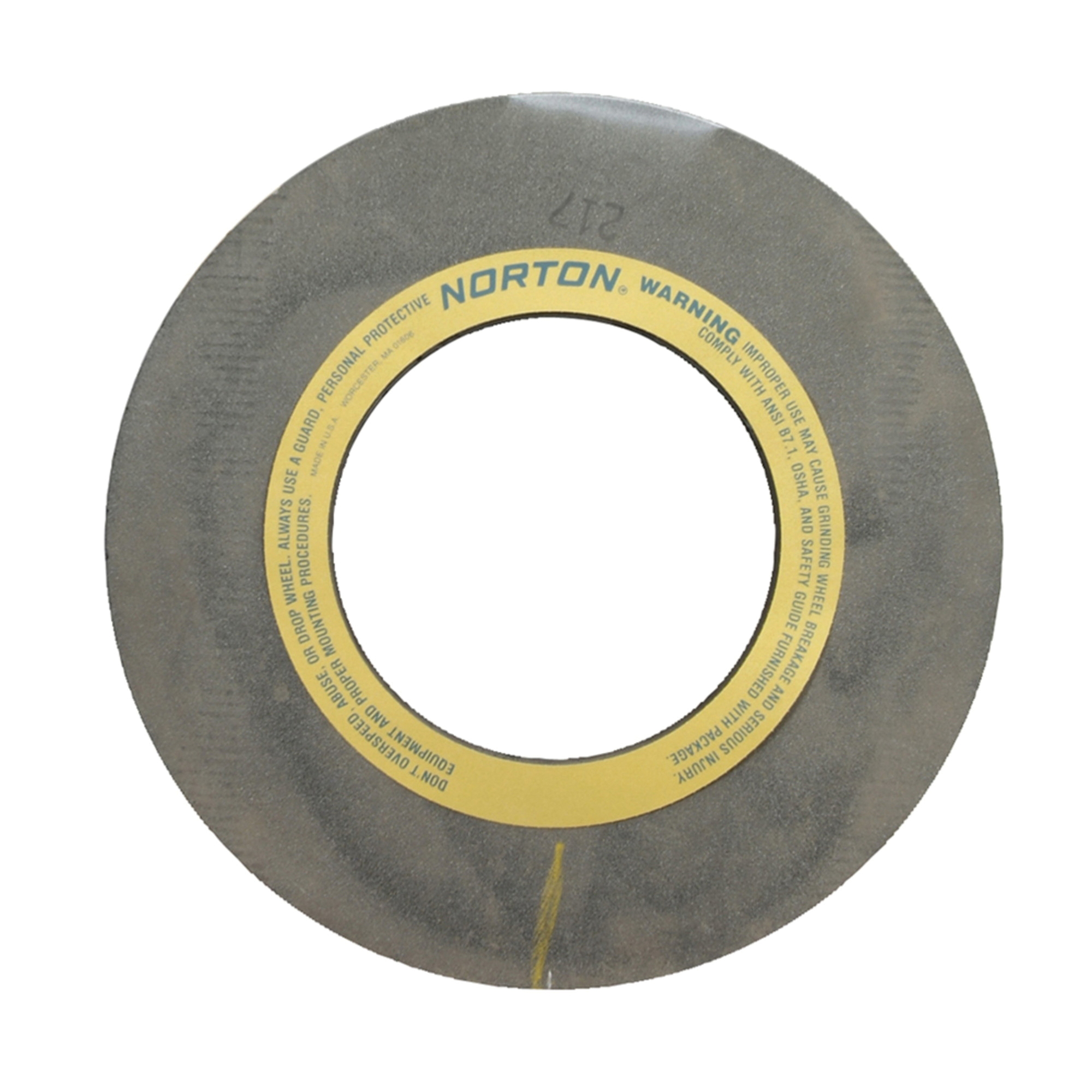 Norton® 69083166553 32A Straight Centerless Grinding Wheel, 24 in Dia x 20 in THK, 305 mm Center Hole, 54 Grit, Aluminum Oxide Abrasive