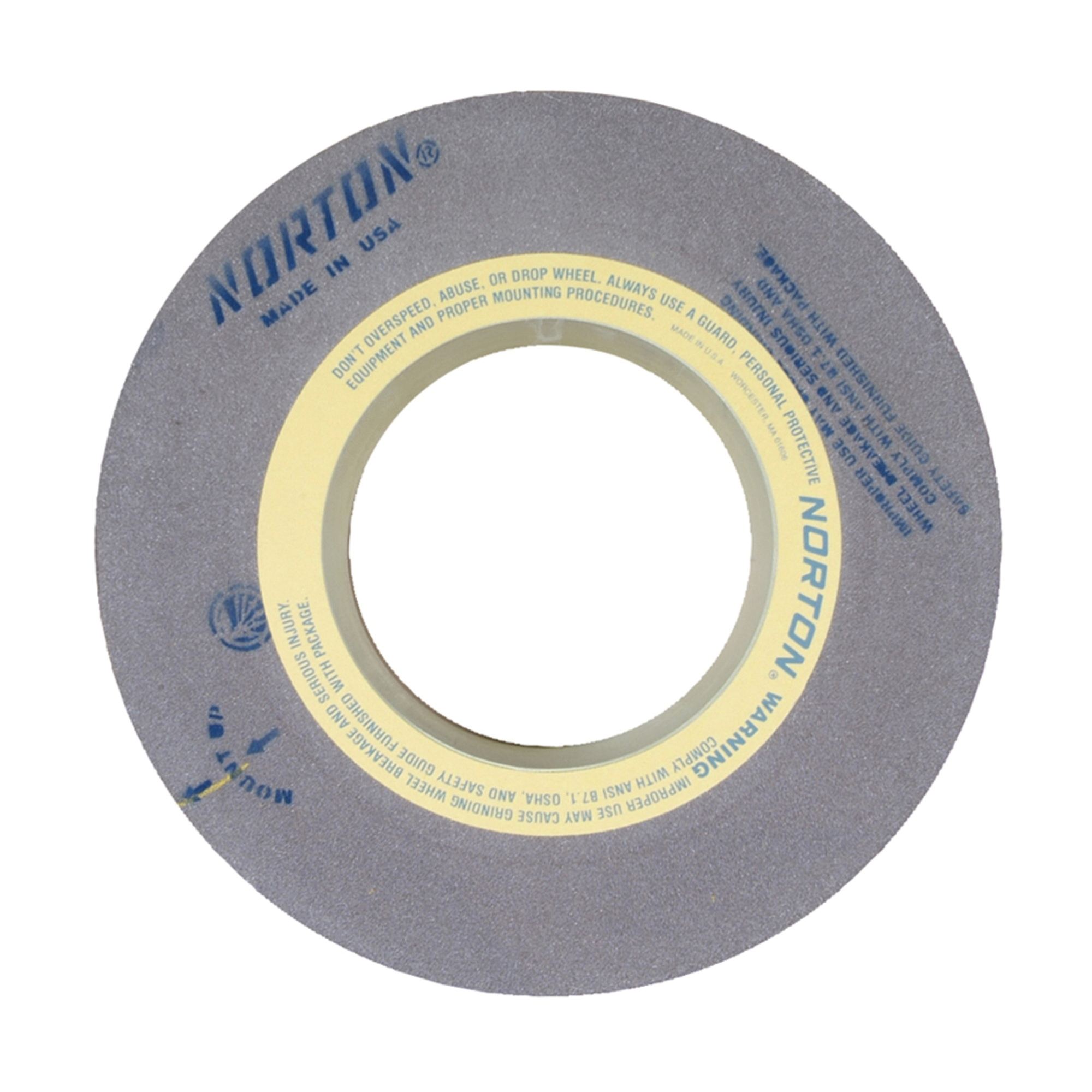 Norton® 69083166771 57A Centerless Grinding Wheel, 24 in Dia x 10 in THK, 12 in Center Hole, 60 Grit, Aluminum Oxide Abrasive