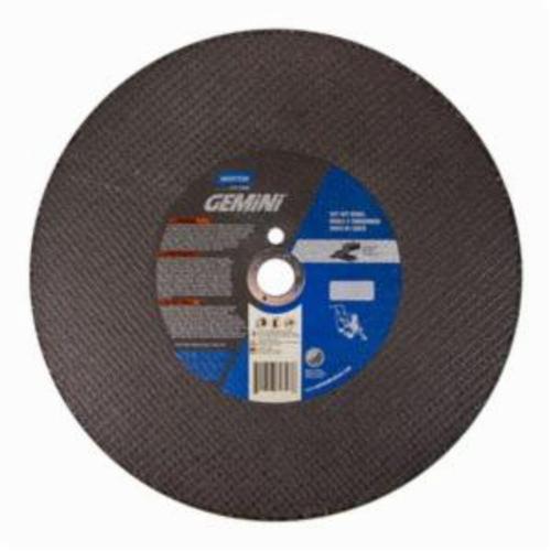 Norton® Gemini® Concrete 70184680323 Type 01 Reinforced Straight Cut-Off Wheel, 14 in Dia x 3/16 in THK, 1 in Center Hole, 24 Grit, Silicon Carbide Abrasive