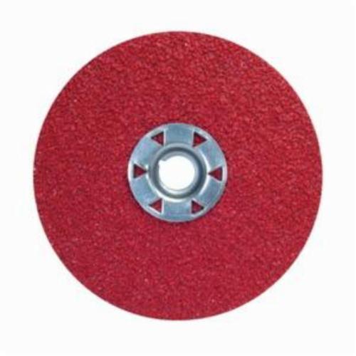 Norton® Red Heat® 77696009737 F981 Close Coated Abrasive Disc, 4-1/2 in Dia, 5/8-11 Center Hole, 36 Grit, Extra Coarse Grade, Ceramic Alumina Abrasive, Speed Change Fastener Attachment