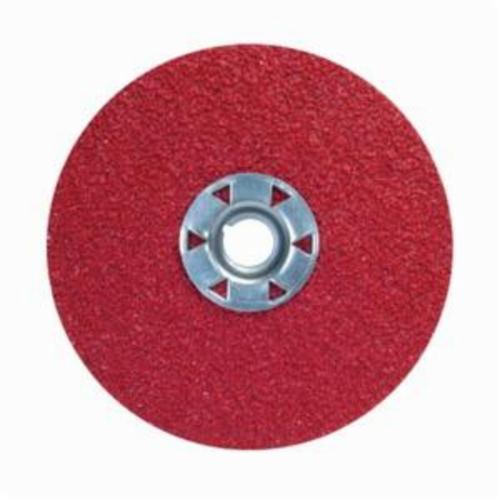 Norton® Red Heat® 77696009739 F981 Close Coated Abrasive Disc, 4-1/2 in Dia, 5/8-11 Center Hole, 50 Grit, Coarse Grade, Ceramic Alumina Abrasive, Speed Change Fastener Attachment