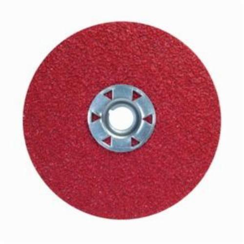 Norton® Red Heat® 77696009740 F981 Close Coated Abrasive Disc, 4-1/2 in Dia, 5/8-11 Center Hole, 60 Grit, Medium Grade, Ceramic Alumina Abrasive, Speed Change Fastener Attachment