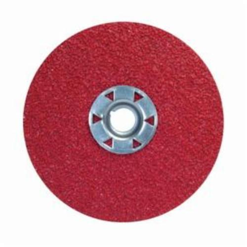 Norton® Red Heat® 77696009741 F981 Close Coated Abrasive Disc, 4-1/2 in Dia, 5/8-11 Center Hole, 80 Grit, Medium Grade, Ceramic Alumina Abrasive, Speed Change Fastener Attachment