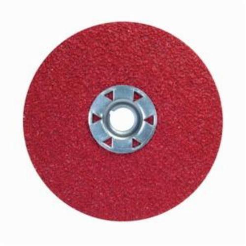 Norton® Red Heat® 77696009755 F981 Close Coated Abrasive Disc, 5 in Dia, 5/8-11 Center Hole, 120 Grit, Fine Grade, Ceramic Alumina Abrasive, Speed Change Fastener Attachment
