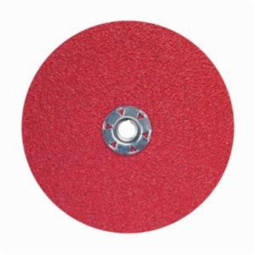 Norton® Red Heat® 77696009761 F981 Close Coated Abrasive Disc, 7 in Dia, 5/8-11 Center Hole, 50 Grit, Coarse Grade, Ceramic Alumina Abrasive, Speed Change Fastener Attachment