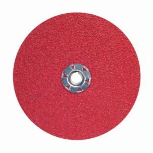 Norton® Red Heat® 77696009767 F981 Close Coated Abrasive Disc, 7 in Dia, 5/8-11 Center Hole, 80 Grit, Medium Grade, Ceramic Alumina Abrasive, Speed Change Fastener Attachment