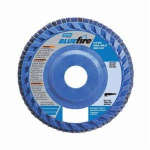 Norton® BlueFire® 77696090084 R884P Center Mount High Density Quick-Trim Coated Abrasive Flap Disc, 4-1/2 in Dia, 7/8 in Center Hole, P80 Grit, Coarse Grade, Zirconia Alumina Plus Abrasive, Type 27/Flat Disc