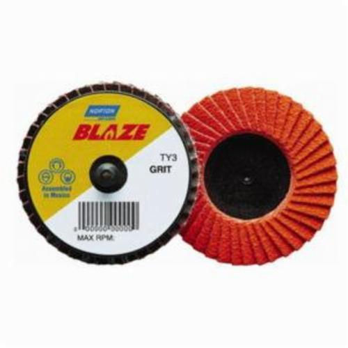 Norton® Blaze® 77696090149 R980P Extra Heavy Duty TR (Type III) Quick-Trim Standard Density Coated Abrasive Flap Disc, 2 in Dia, 120 Grit, Medium Grade, Ceramic Alumina Abrasive, Type 27/Flat Disc