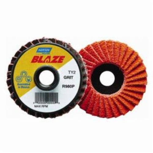Norton® Blaze® 77696090156 R980P Extra Heavy Duty TS (Type II) Quick-Trim Standard Density Coated Abrasive Flap Disc, 2 in Dia, 40 Grit, Extra Coarse Grade, Ceramic Alumina Abrasive, Type 27/Flat Disc