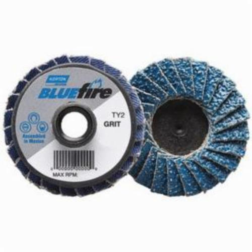 Norton® BlueFire® 77696090180 R884P Extra Heavy Duty Quick-Change TS (Type II) Coated Abrasive Flap Disc, 3 in Dia, P36 Grit, Extra Coarse Grade, Zirconia Alumina Plus Abrasive, Type 27/Flat Disc
